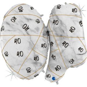 K186. Balon z helem na 40 urodziny 40″cali – marmurkowy jeden balon