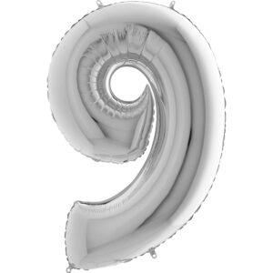 K0019. Balon foliowy w kształcie cyfry 9 w kolorze srebrnym