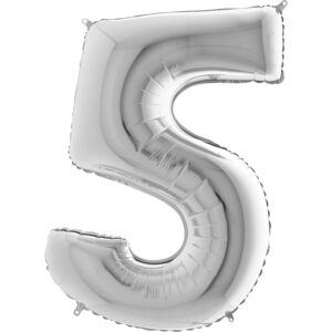 K0015. Balon foliowy w kształcie cyfry 5 w kolorze srebrnym