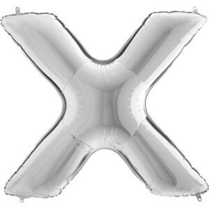KS24. Balony litery duże około 100 cm na hel – litera srebrna X