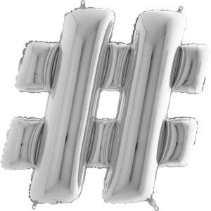 KS28. Balony litery duże około 100 cm na hel – znak srebrny hasztag #