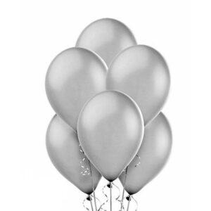 """A002. Metalizowane balony lateksowe 12"""" calowe – kolor srebrny"""