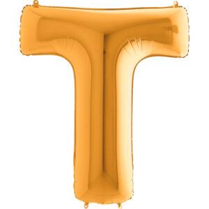 KZ20. Balony litery duże około 100 cm z helem – litera złota T