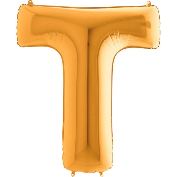Złoty balon w kształcie litery pompowany helem