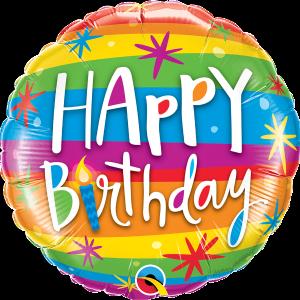 L0031. Balon foliowy z helem na urodziny 18″ cali (43 cm) – Happy Birthday kolorowe pasy
