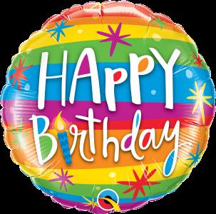 Balonik urodzinowy w poziome kolorowe paski