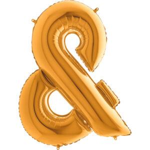 KZ27. Balony litery duże około 100 cm z helem – znak złoty &