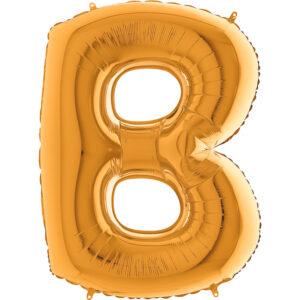 KZ02. Balony litery duże około 100 cm z helem – litera złota B