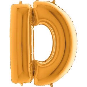 KZ04. Balony litery duże około 100 cm z helem – litera złota D