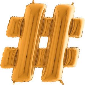KZ28. Balony litery duże około 100 cm z helem – znak złoty # hasztag