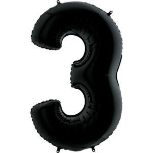 K0133. Balon foliowy w kształcie cyfry 3 w kolorze czarny