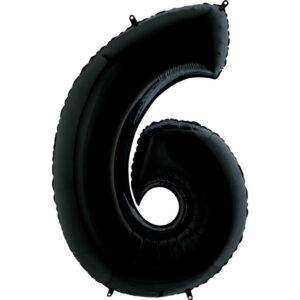 K0136. Balon foliowy w kształcie cyfry 6 w kolorze czarny