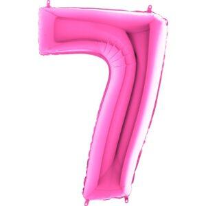 K0067. Balon foliowy w kształcie cyfry 7 w kolorze fuksja / ciemny róż
