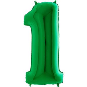 Balon foliowyw w kształcie cyfry 1 w kolorze zielonym
