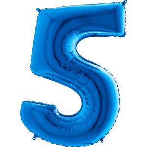 K0095. Balon foliowy w kształcie cyfry 5 w kolorze niebieski / granatowy