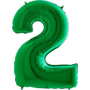 K0122. Balon foliowy w kształcie cyfry 2 w kolorze zielony
