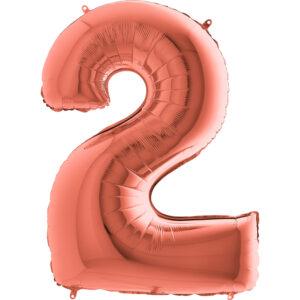 K0042. Balon foliowy w kształcie cyfry 2 w kolorze rose gold / różowe złoto