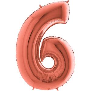 K0046. Balon foliowy w kształcie cyfry 6 w kolorze rose gold / różowe złoto