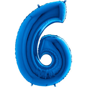 K0096. Balon foliowy w kształcie cyfry 6 w kolorze niebieski / granatowy