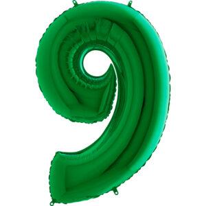 K0129. Balon foliowy w kształcie cyfry 9 w kolorze zielony