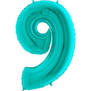 K0119. Balon foliowy w kształcie cyfry 9 w kolorze morski turkusowy