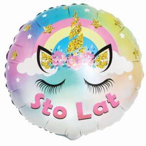 L0032. Balon foliowy z helem na urodziny 18″ cali (43 cm) – STO LAT jednorożec