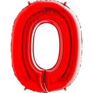 K0150. Balon foliowy w kształcie cyfry 0 w kolorze czerwony