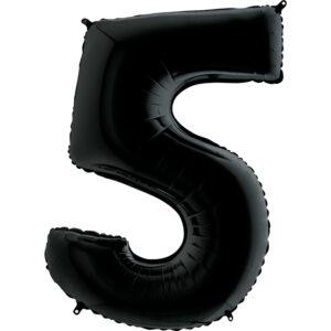 K0135. Balon foliowy w kształcie cyfry 5 w kolorze czarny