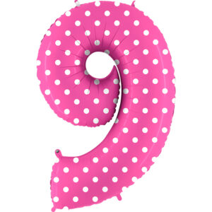 K0079. Balon foliowy w kształcie cyfry 9 w kolorze różowy w białe grochy