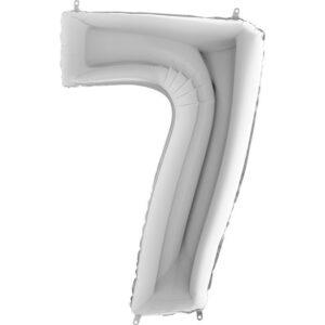 K0017. Balon foliowy w kształcie cyfry 7 w kolorze srebrnym
