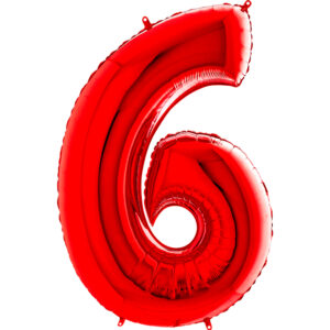 K0146. Balon foliowy w kształcie cyfry 6 w kolorze czerwony