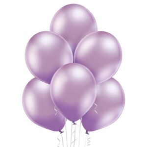 Fioletowy balon chromowany wypełniony helem