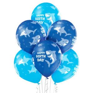 B041. Zestaw niebieskich balonów na urodziny – rekin – 6 sztuk
