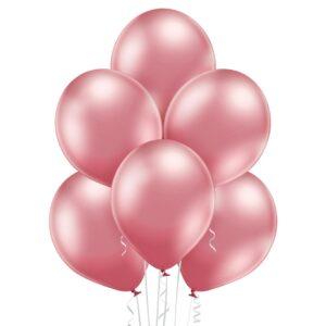 Różowy chromowany balon lateksowy z helem