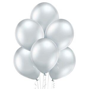 "Achr02. Chromowane balony lateksowe 12"" calowe – kolor srebrny"