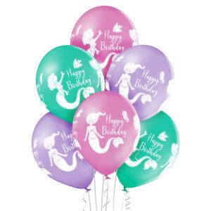 B040. Zestaw morskich balonów na urodziny – mała syrenka – 6 sztuk