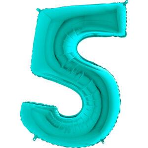 K0115. Balon foliowy w kształcie cyfry 5 w kolorze morski turkusowy