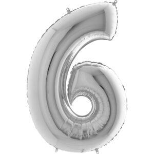 K0016. Balon foliowy w kształcie cyfry 6 w kolorze srebrnym