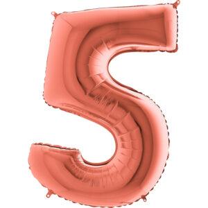 K0045. Balon foliowy w kształcie cyfry 5 w kolorze rose gold / różowe złoto