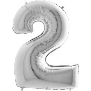 Balon cyfra 2 srebrny