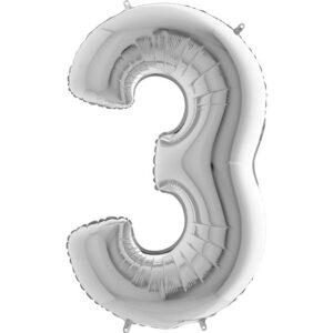 K0013. Balon foliowy w kształcie cyfry 3 w kolorze srebrnym