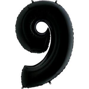 K0139. Balon foliowy w kształcie cyfry 9 w kolorze czarny