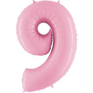 K0059. Balon foliowy w kształcie cyfry 9 w kolorze jasno różowy