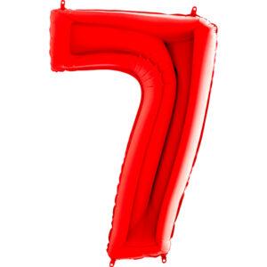 K0147. Balon foliowy w kształcie cyfry 7 w kolorze czerwony