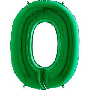 K0130. Balon foliowy w kształcie cyfry 0 w kolorze zielony