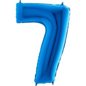 K0097. Balon foliowy w kształcie cyfry 7 w kolorze niebieski / granatowy