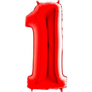 K0141. Balon foliowy w kształcie cyfry 1 w kolorze czerwony
