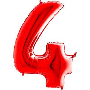 K0144. Balon foliowy w kształcie cyfry 4 w kolorze czerwony