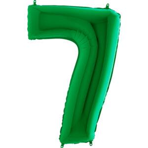 K0127. Balon foliowy w kształcie cyfry 7 w kolorze zielony