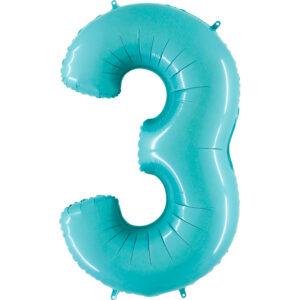 K0083. Balon foliowy w kształcie cyfry 3 w kolorze miętowy